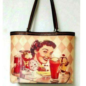 Isabella Fiore Handbag Vtg Diner Embellish Large